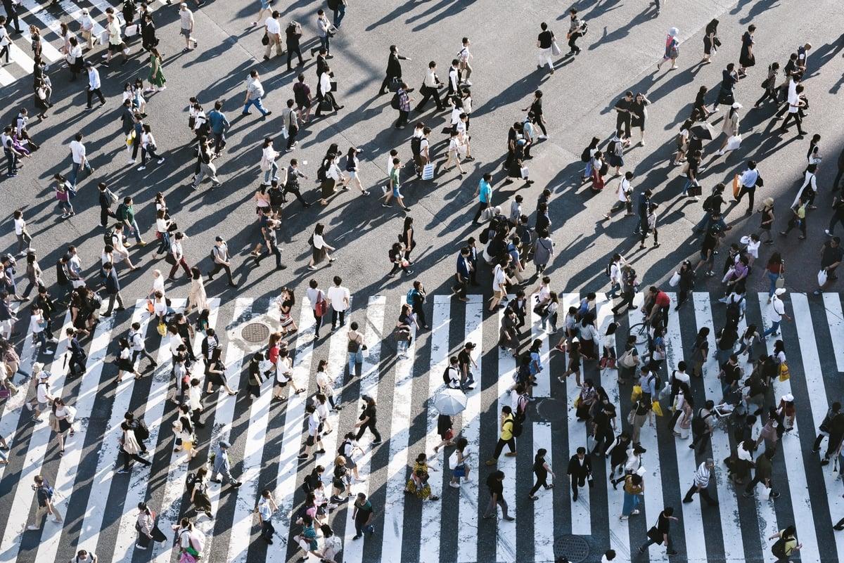 Busy pedestrian crossing